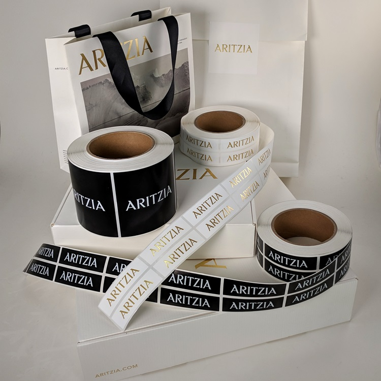 Aritzia Holiday Folding Gift Boxes with Gold Hotstamp Logo, Sticker Labels and Ecomm Paper Gusset Insert Bag Reverse and Holiday Mini Shopper
