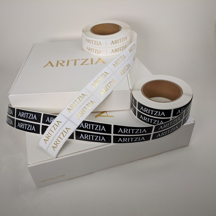 Aritzia Holiday Folding Gift Boxes with Gold Hotstamp Logo and Retail Sticker Labels