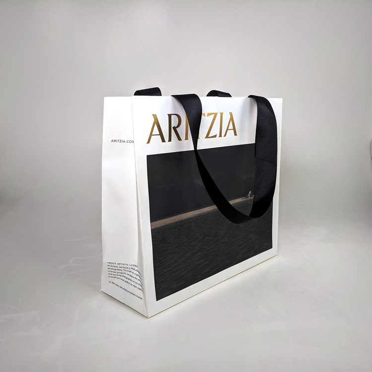 Aritzia Holiday Mini Shopper with Black Ribbon Handle Side View