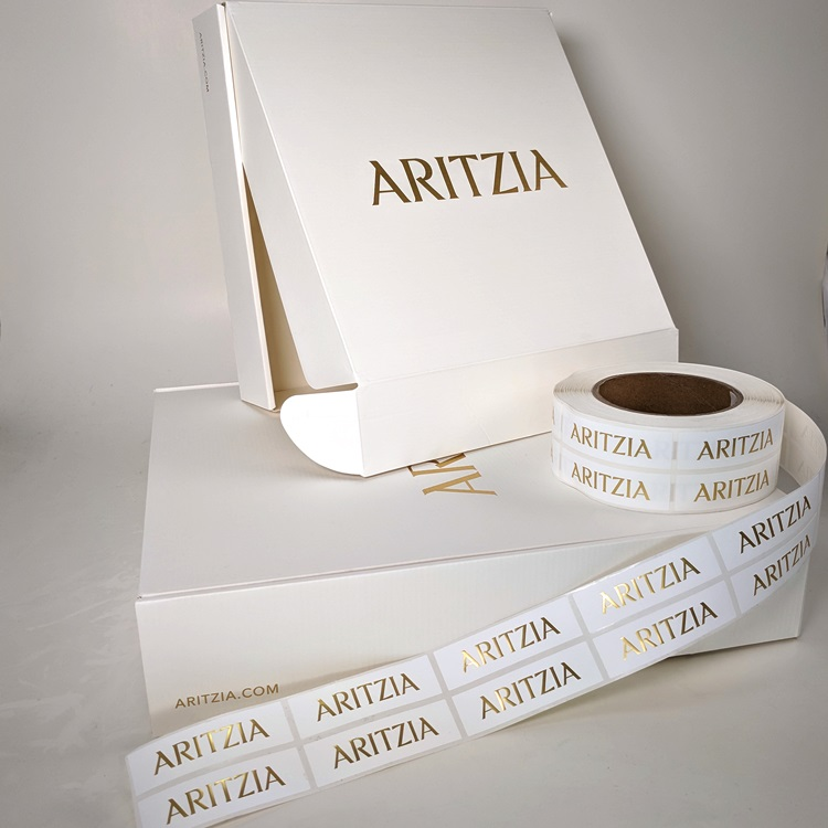 Aritzia Holiday Folding Gift Boxes with Gold Hotstamp Logo with Retail Sticker Labels