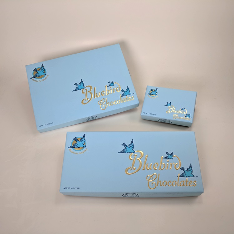 Bluebird Candy Loose Wrapped Rigid Chocolate Boxes with Gold Hotstamp Logo