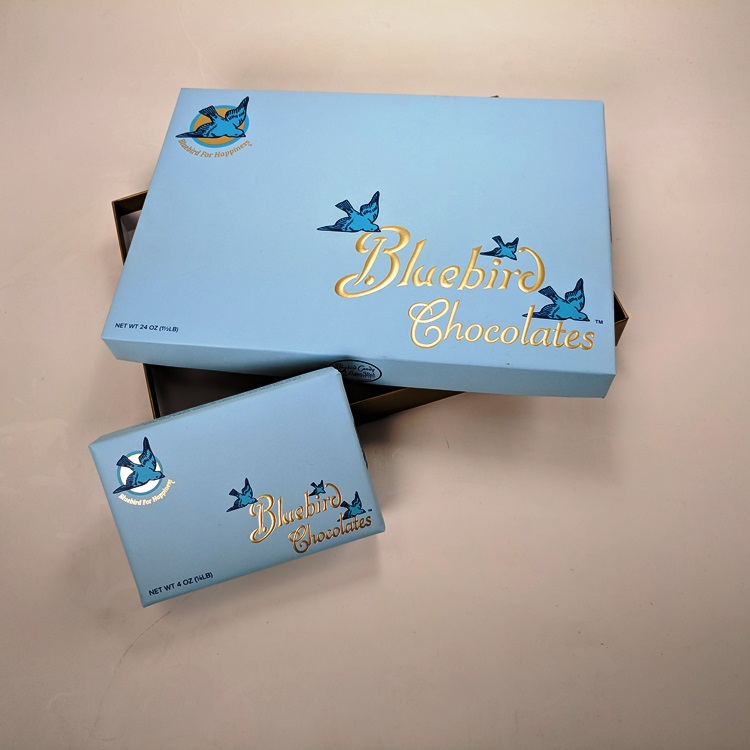 Bluebird Candy Loose Wrapped Rigid Chocolate Boxes with Gold Hotstamp