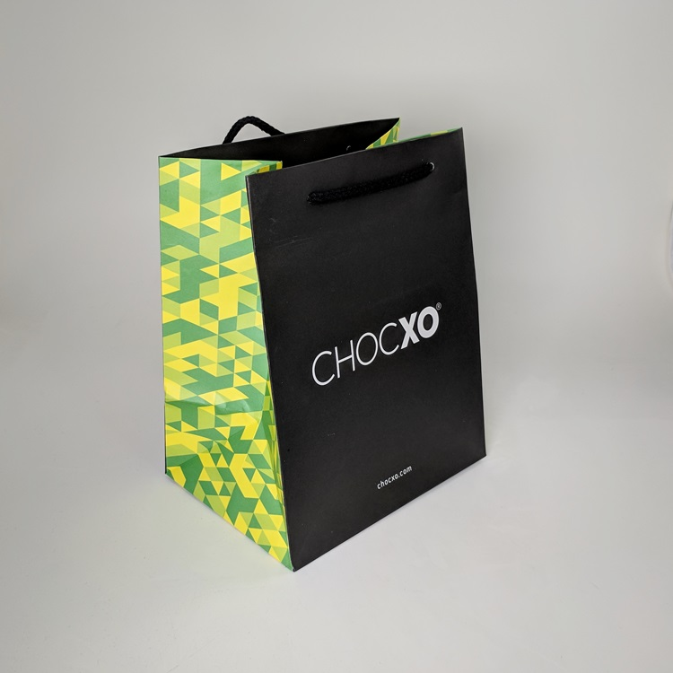 ChocXO Large Rope Handled Shopper with Printed Gussets Side View