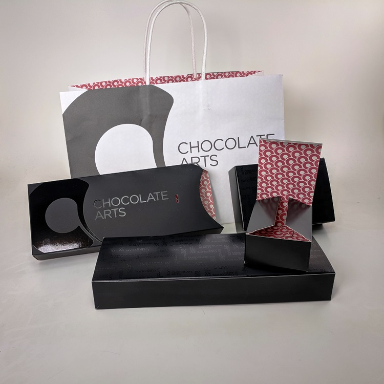 Chocolate Arts Shopper, Sleeve and Multi size folding box Inserts with Interior Print Detail