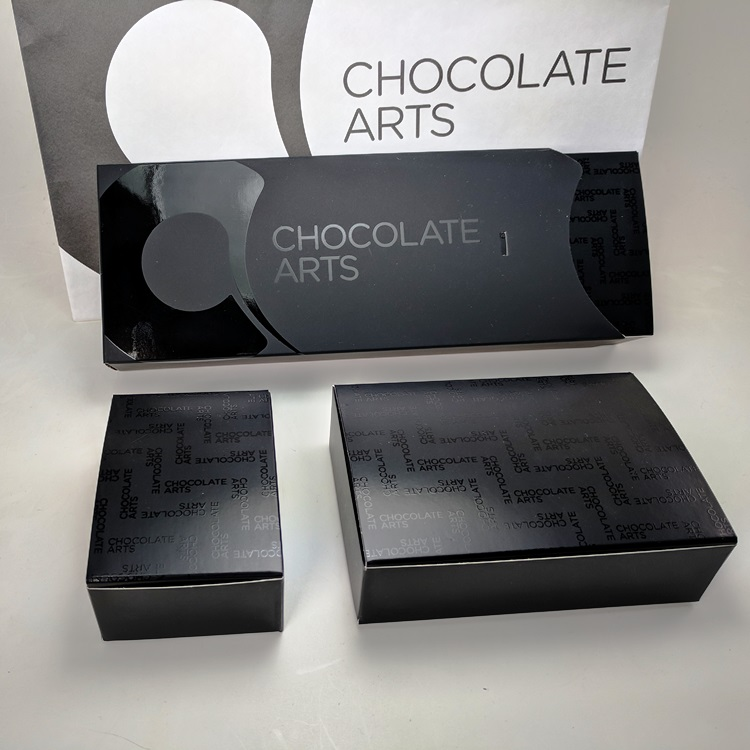 Chocolate Arts Folding Candy Boxes with UV Spot Gloss Sleeve and Multi Size Inserts