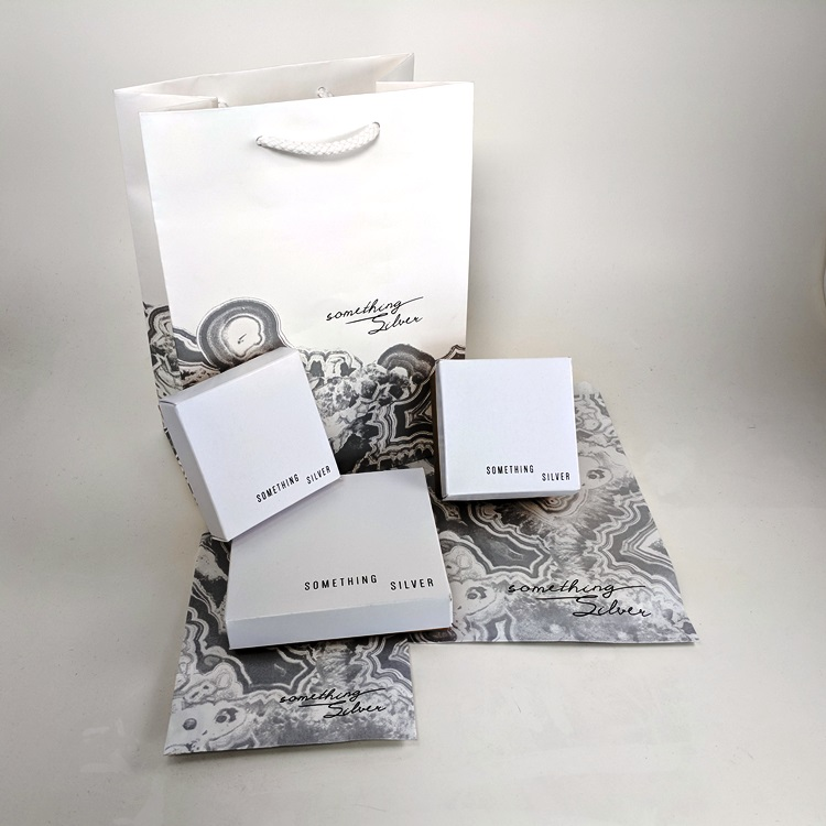 Something Silver Rope Handle Shopper, Simplex 2-piece Jewelry Boxes and Flat Paper Merchandise Bags