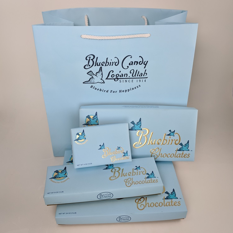 Bluebird Candy Large Rope Handle Shopper and Loose Wrapped Rigid Chocolate Boxes