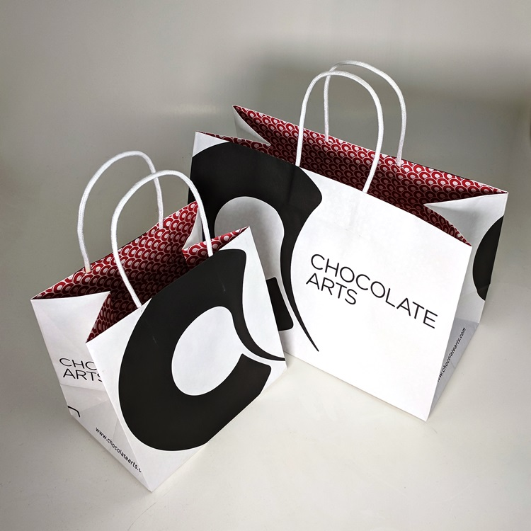Chocolate Arts Shoppers with Interior Print Detail