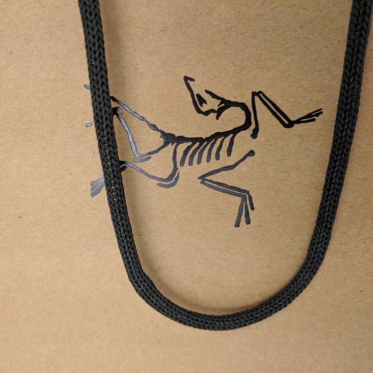 Arc'Teryx Small Black Hotstamp Logo Kraft Shopper with Eco Friendly Paper Rope Handle Detail View