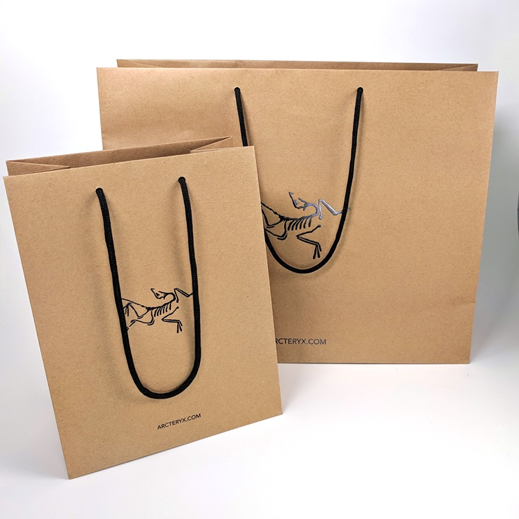 Arc'Teryx Black Hotstamp Logo Kraft Shoppers with Eco Friendly Paper Rope Handle