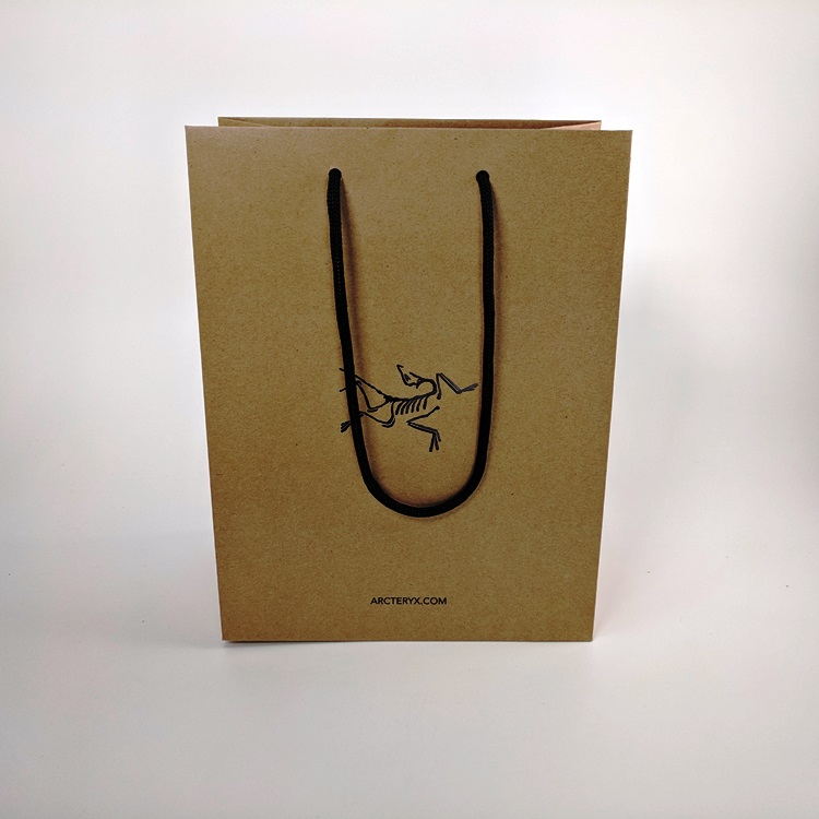 Arc'Teryx Small Black Hotstamp Logo Kraft Shopper with Eco Friendly Paper Rope Handle