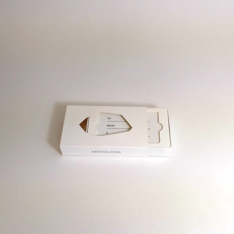 Aritzia Gem Rigid Gift Card Enclosure with sliding insert open view