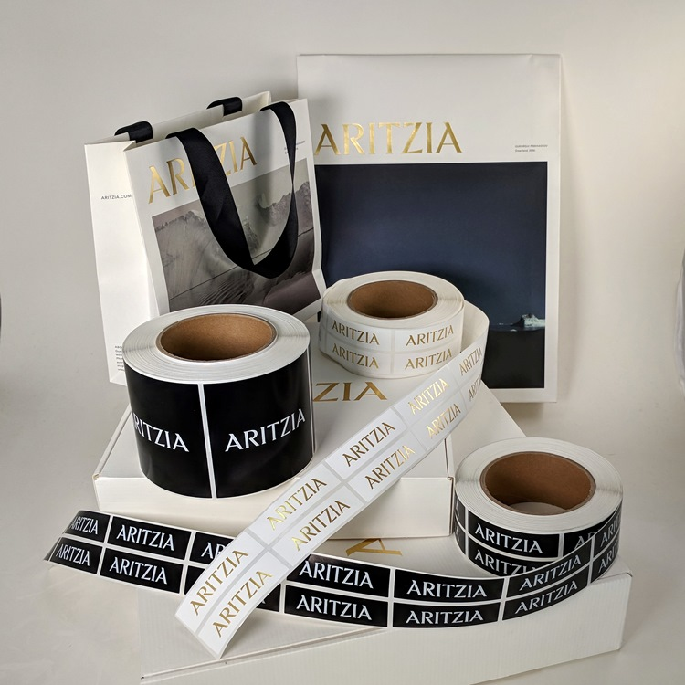 Aritzia Holiday Folding Gift Boxes with Gold Hotstamp Logo, Sticker Labels and Ecomm Paper Gusset Insert Bag and Holiday Mini Shopper