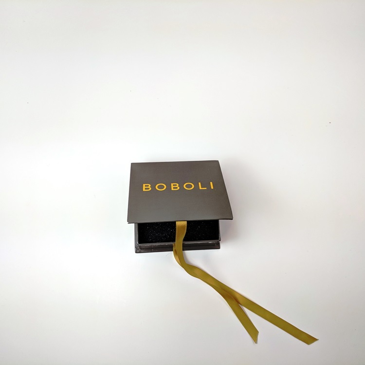 Boboli Rigid Jewelry Box with Ribbon Closure and Gold Hotstamp Logo Open View