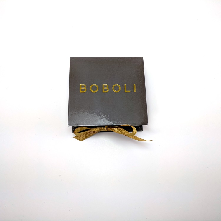 Boboli Rigid Jewelry Box with Ribbon Closure and Gold Hotstamp Logo