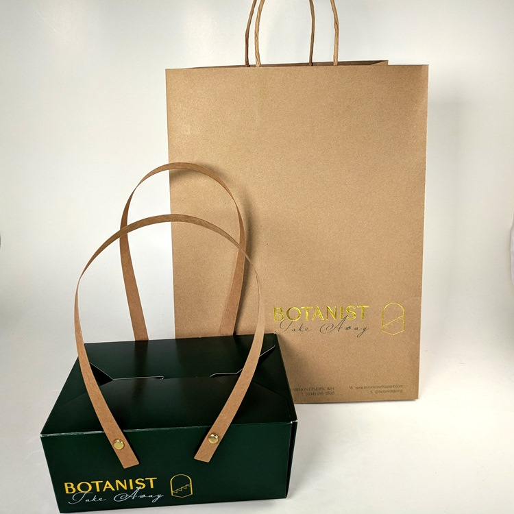 Fairmont Pacific Rim Botanist Restaurant Take Out Box with Pinned Paper Handle and Shopper