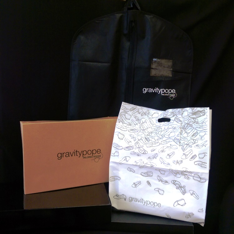 Gravity Pope Gift Box, Die Cut Retail Poly Bag and Garment Bag