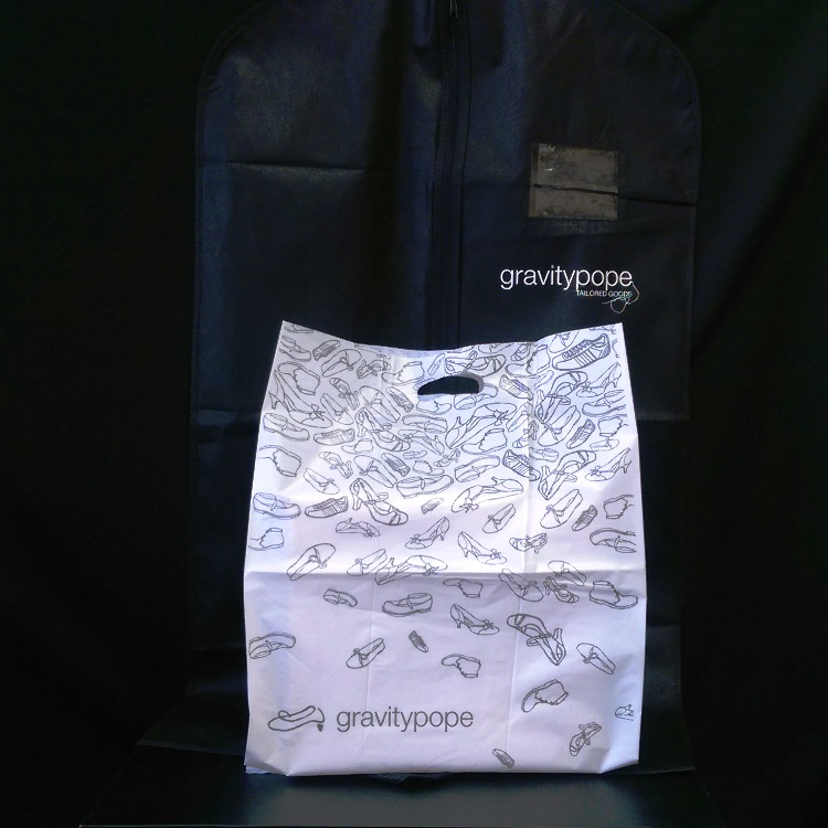 Gravity Pope Non Woven Garment Bag and Die Cut Poly Bag
