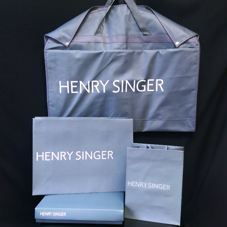 Henry Singer Rope Handle Shoppers and Folding Gift Box with Vinyl Folding Garment Bag