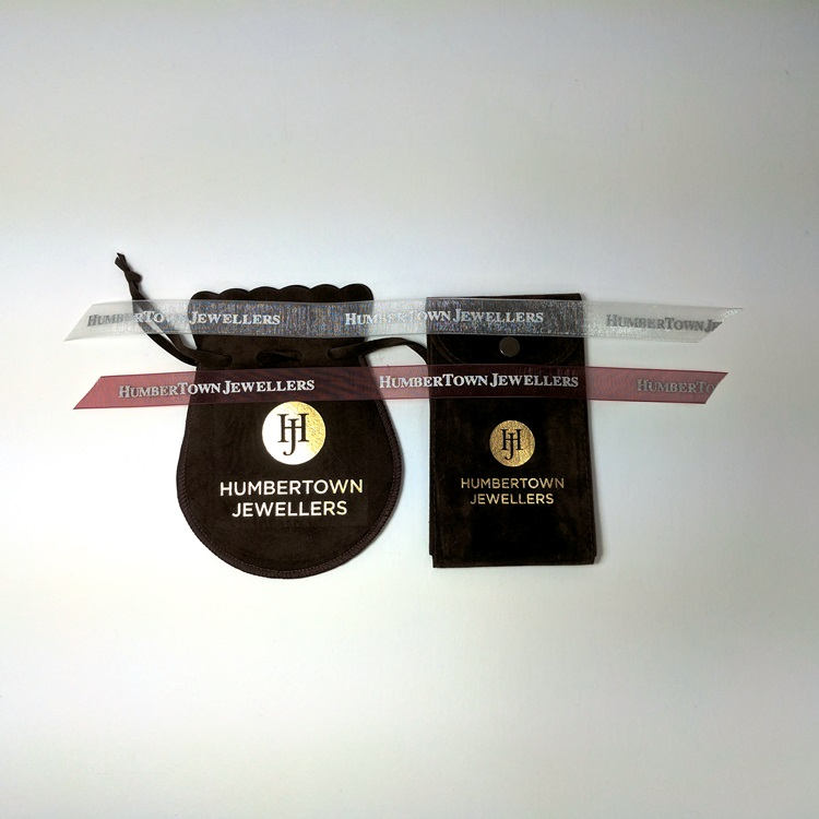 Humbertown Jewellers Printed Ribbon in Silver and Maroon, Velvet Pouches