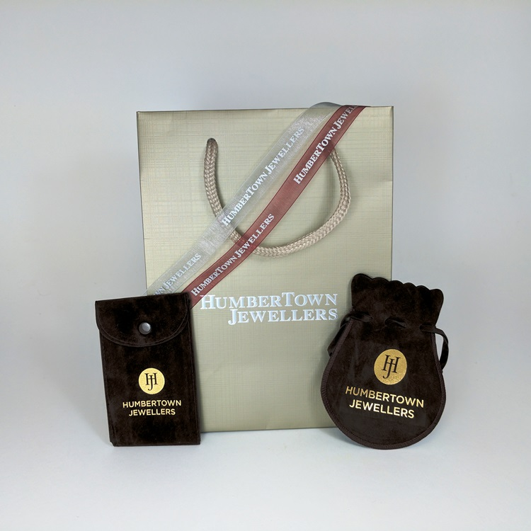 Humbertown Jewellers Shopper, Silver & Maroon Ribbon, Snap Button and Drawstring velvet pouches