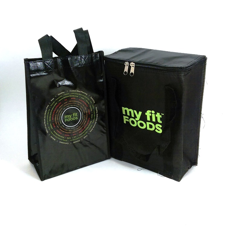 My Fit Foods Small Non Woven Reusable Tote Bag and Insulated Cooler Bag