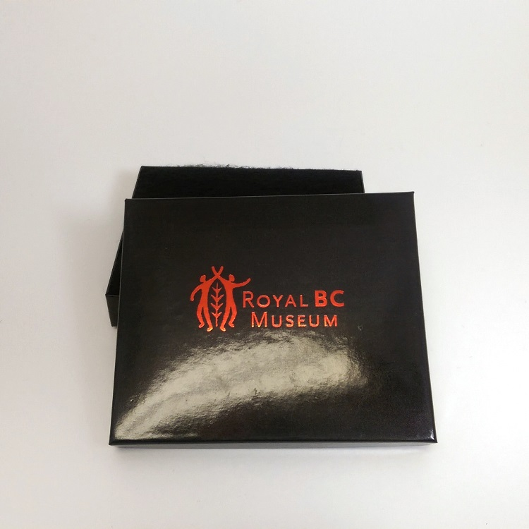 Royal BC Museum Large Jewelry Gift Box with Black cotton insert open view