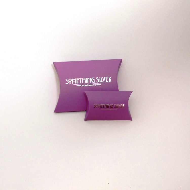Something Silver Folding Pillow Pouch Jewelry Boxes with Silver Hotstamp Logo