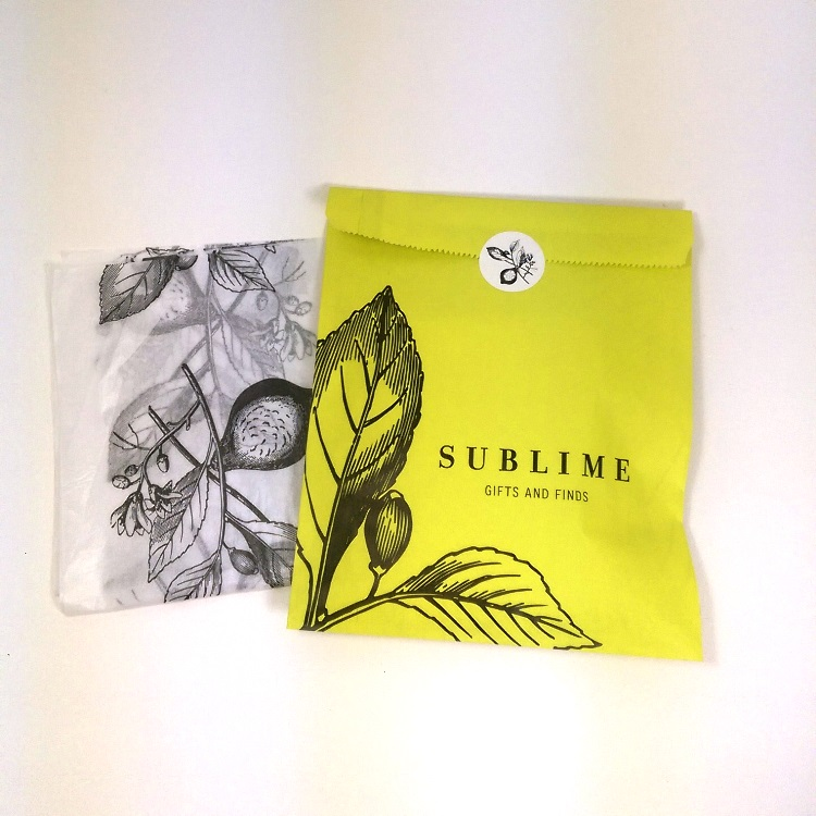 Sublime Paper Merchandise Bag, Printed Tissue and Sticker