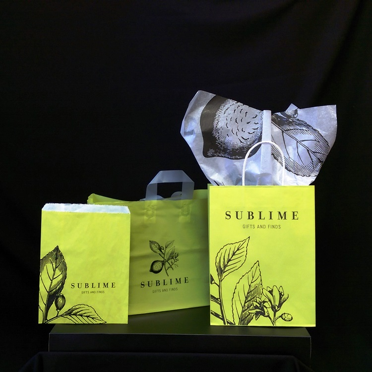Sublime Paper and Poly Shoppers and Merchandise Bag with Tissue
